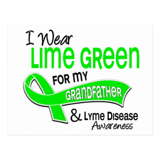 I Wear Lime Green 42 Grandfather Lyme Disease Postcards