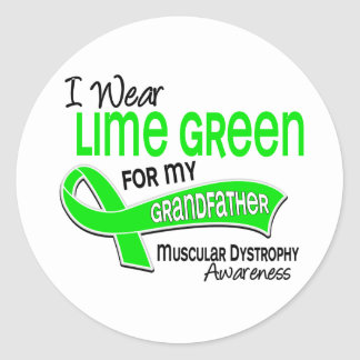 I Wear Lime Green 42 Grandfather Muscular Dystroph Classic Round Sticker