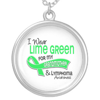 I Wear Lime Green 42 Grandmother Lymphoma Round Pendant Necklace