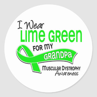 I Wear Lime Green 42 Grandpa Muscular Dystrophy Classic Round Sticker