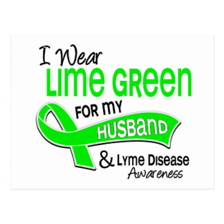 I Wear Lime Green 42 Husband Lyme Disease Postcard