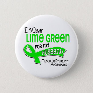 I Wear Lime Green 42 Husband Muscular Dystrophy Button