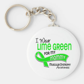 I Wear Lime Green 42 Mommy Muscular Dystrophy Keychain