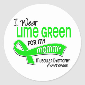 I Wear Lime Green 42 Mommy Muscular Dystrophy Classic Round Sticker