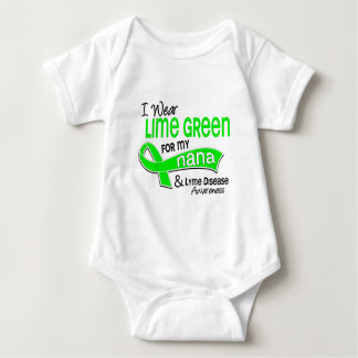 I Wear Lime Green 42 Nana Lyme Disease Baby Bodysuit