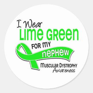 I Wear Lime Green 42 Nephew Muscular Dystrophy Classic Round Sticker