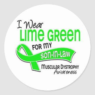 I Wear Lime Green 42 Son-In-Law Muscular Dystrophy Classic Round Sticker