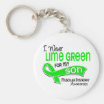 I Wear Lime Green 42 Son Muscular Dystrophy Basic Round Button Keychain