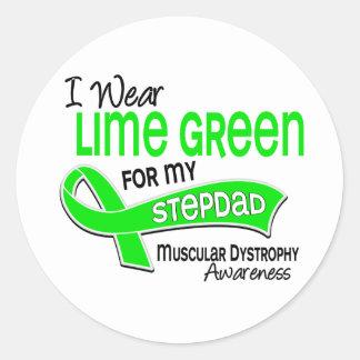 I Wear Lime Green 42 Stepdad Muscular Dystrophy Classic Round Sticker