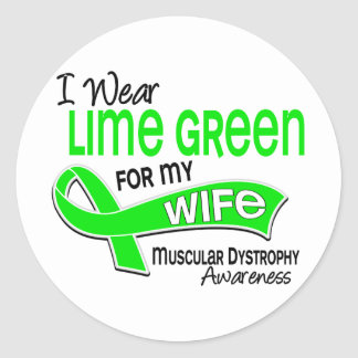 I Wear Lime Green 42 Wife Muscular Dystrophy Classic Round Sticker