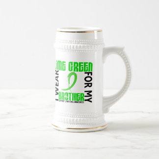 I Wear Lime Green For My Brother 46 Lymphoma 18 Oz Beer Stein