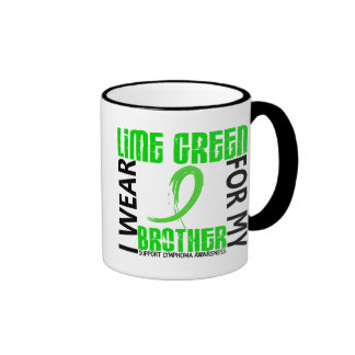 I Wear Lime Green For My Brother 46 Lymphoma Ringer Coffee Mug