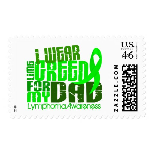 I Wear Lime Green For My Dad 6.4 Lymphoma Postage Stamps