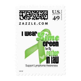 I Wear Lime Green For My Father in Law - Lymphoma Postage Stamps