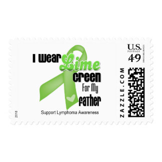 I Wear Lime Green For My Father - Lymphoma Postage