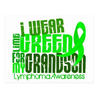 I Wear Lime Green For My Grandson 6.4 Lymphoma Postcard