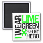 I Wear Lime Green For My Hero - Lymphoma 2 Inch Square Magnet