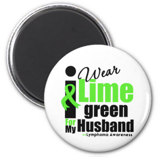 I Wear Lime Green For My Husband 2 Inch Round Magnet
