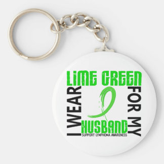 I Wear Lime Green For My Husband 46 Lymphoma Keychains