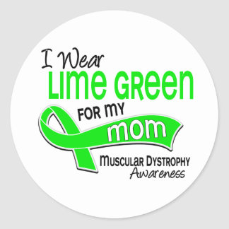 I Wear Lime Green For My Mom 42 Muscular Dystrophy Classic Round Sticker
