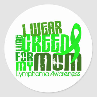 I Wear Lime Green For My Mom 6 4 Lymphoma Stickers