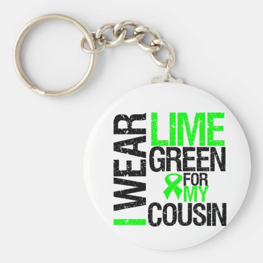 I Wear Lime Green Ribbon For My Cousin Lymphoma Basic Round Button Keychain