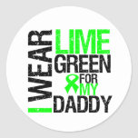 I Wear Lime Green Ribbon For My Daddy Lymphoma Round Stickers