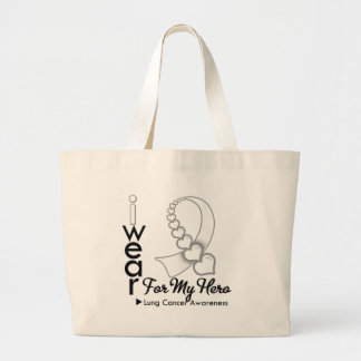 I Wear Lung Cancer Ribbon For My Hero Large Tote Bag