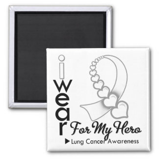 I Wear Lung Cancer Ribbon For My Hero Refrigerator Magnets