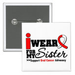 I Wear Oral Cancer Ribbon For My Sister 2 Inch Square Button