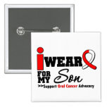 I Wear Oral Cancer Ribbon For My Son Pinback Button
