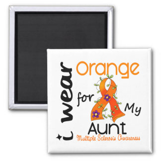 I Wear Orange 43 Aunt MS Multiple Sclerosis 2 Inch Square Magnet