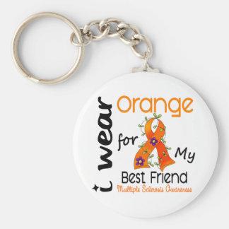 I Wear Orange 43 Best Friend MS Multiple Sclerosis Basic Round Button Keychain
