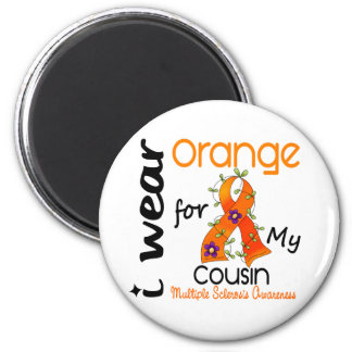 I Wear Orange 43 Cousin MS Multiple Sclerosis 2 Inch Round Magnet