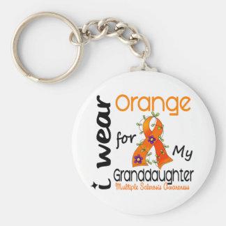 I Wear Orange 43 Granddaughter MS Multiple Scleros Basic Round Button Keychain