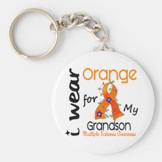 I Wear Orange 43 Grandson MS Multiple Sclerosis Keychains