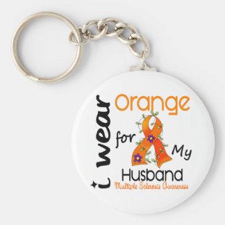 I Wear Orange 43 Husband MS Multiple Sclerosis Key Chain