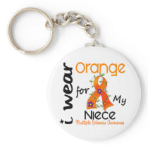 I Wear Orange 43 Niece MS Multiple Sclerosis Keychain