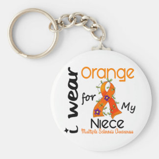 I Wear Orange 43 Niece MS Multiple Sclerosis Basic Round Button Keychain