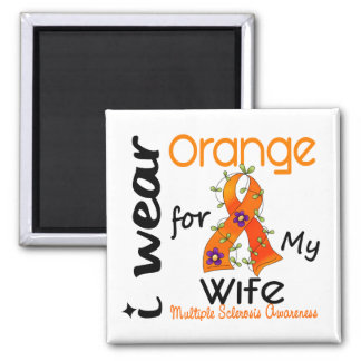 I Wear Orange 43 Wife MS Multiple Sclerosis 2 Inch Square Magnet