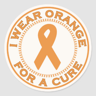I Wear Orange For A Cure Classic Round Sticker