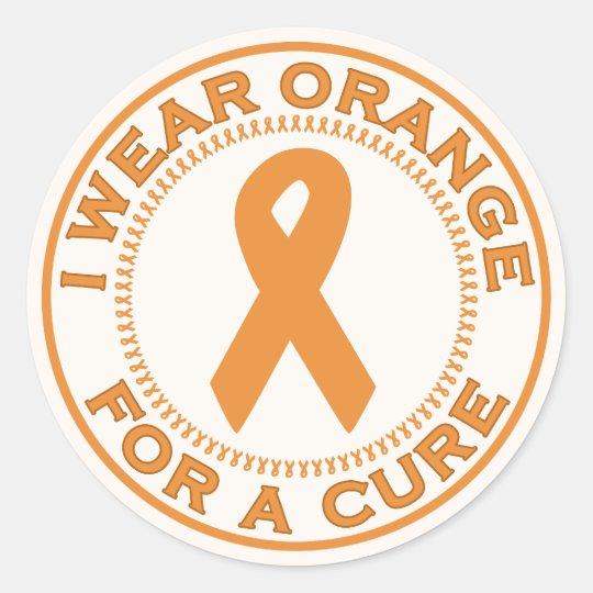 I Wear Orange For A Cure Classic Round Sticker