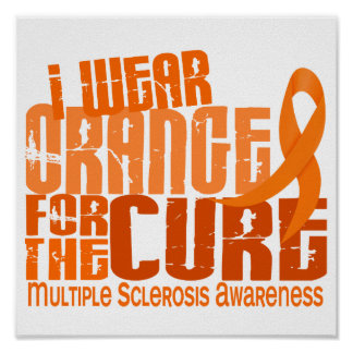 I Wear Orange For Cure 6.4 MS Multiple Sclerosis Poster