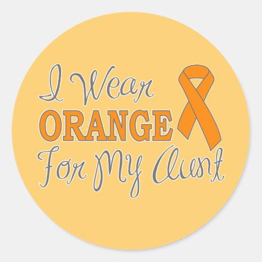 I Wear Orange For My Aunt (Orange Ribbon) Classic Round Sticker