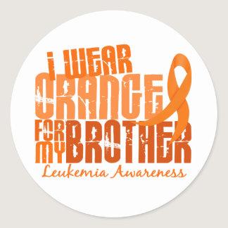 I Wear Orange For My Brother 6.4 Leukemia Classic Round Sticker