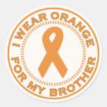 I Wear Orange For My Brother Round Stickers