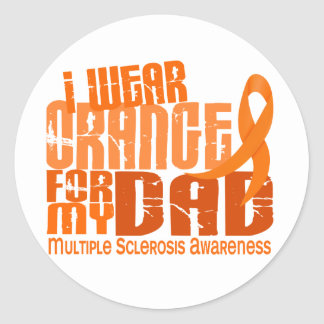 I Wear Orange For My Dad 6.4 Multiple Sclerosis MS Classic Round Sticker