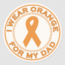 I Wear Orange For My Dad Classic Round Sticker