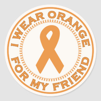 I Wear Orange For My Friend Classic Round Sticker