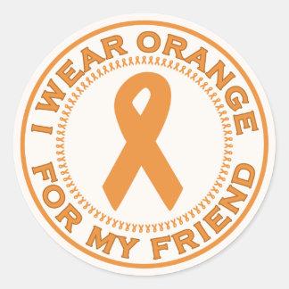 I Wear Orange For My Friend Round Stickers